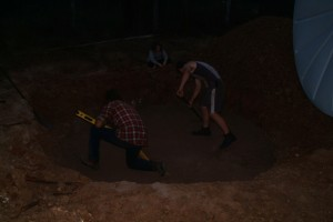 Digging hole for sump tank